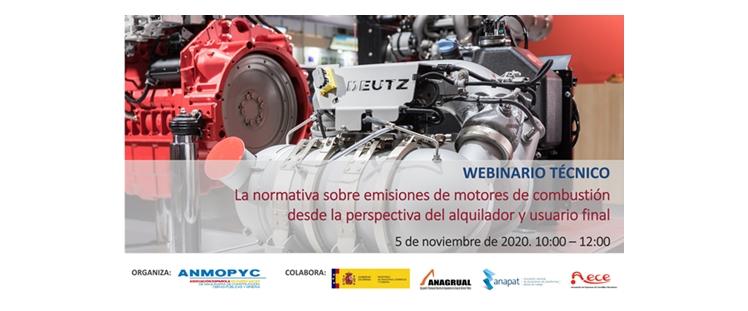 ANMOPYC organiza un Webinario sobre la normativa de emisiones de motores el próximo 5 de Noviembre, en colaboración con ELEVA y el Ministerio de Industria